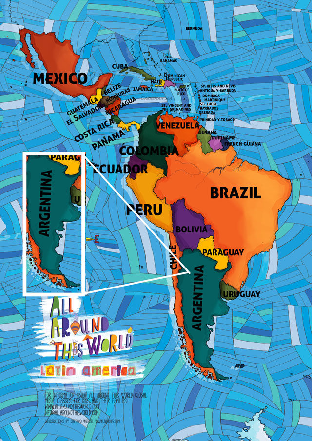 All Around This World Map of Argentina for kids