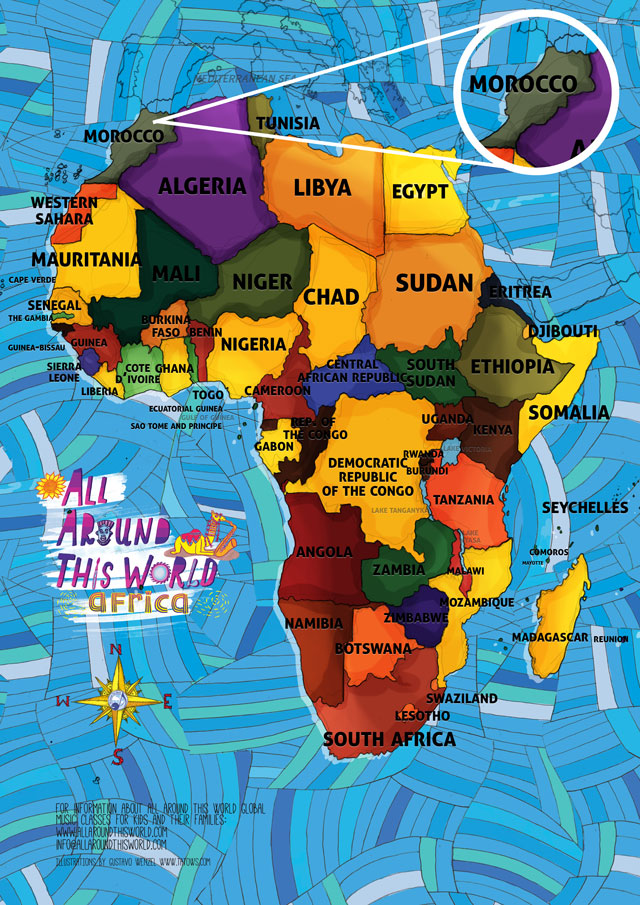 All Around This world Map of Africa featuring Morocco for kids