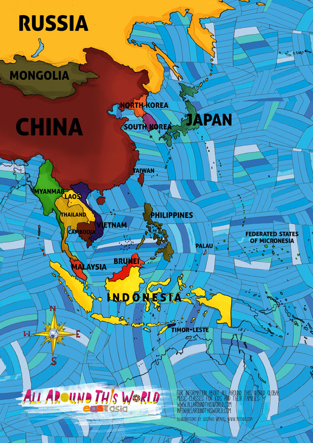"All Around This World East and Southeast Asia ""Everywhere Map"" -- East and Southeast Asian/Chinese songs for kids"