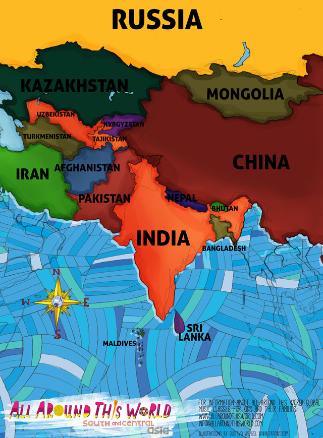 "All Around This World South and Central Asia ""Everywhere Map"" -- South Asian nations like India for kids"