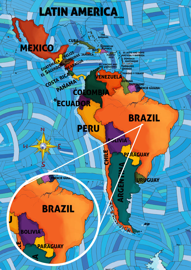All Around This World Map of South America featuring Brazil for kids
