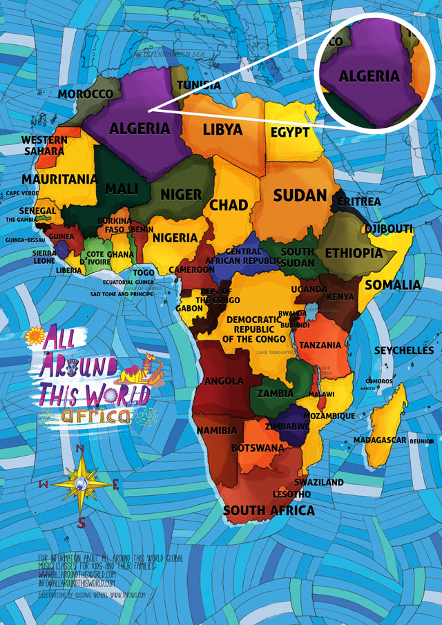 All Around This World map of Africa featuring Algeria