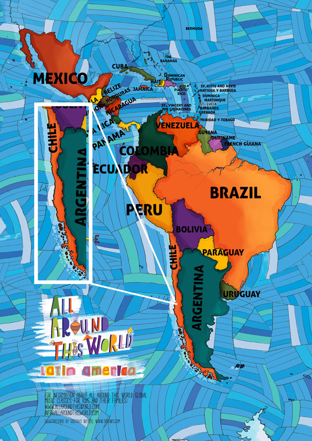 All Around This World map of South America featuring Chile for kids