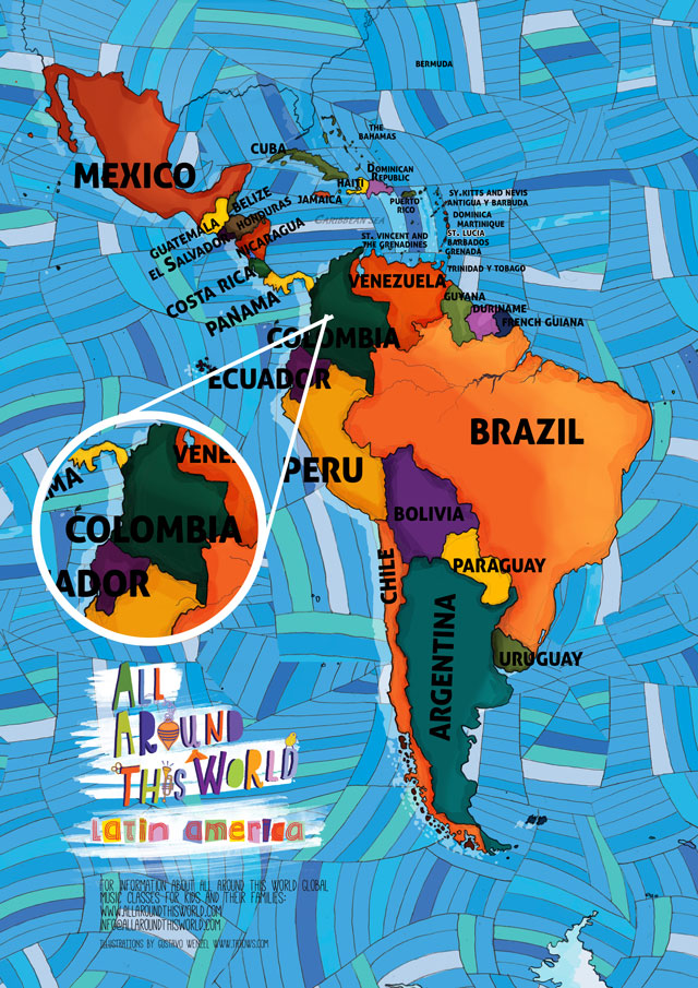 All Around This World map of South America featuring Colombia for kids