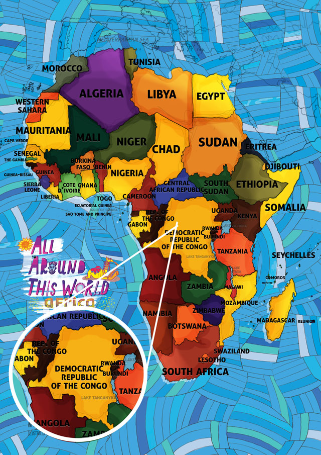 All Around This World Map of Africa featuring the Congo for kids
