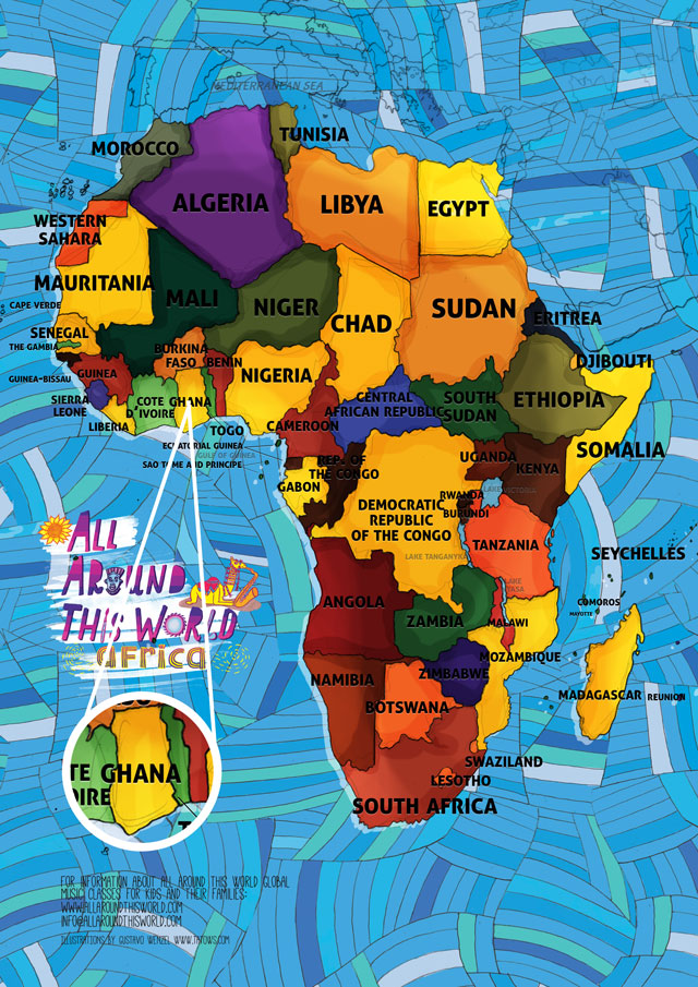 All Around This World map of Africa featuring Ghana for kids