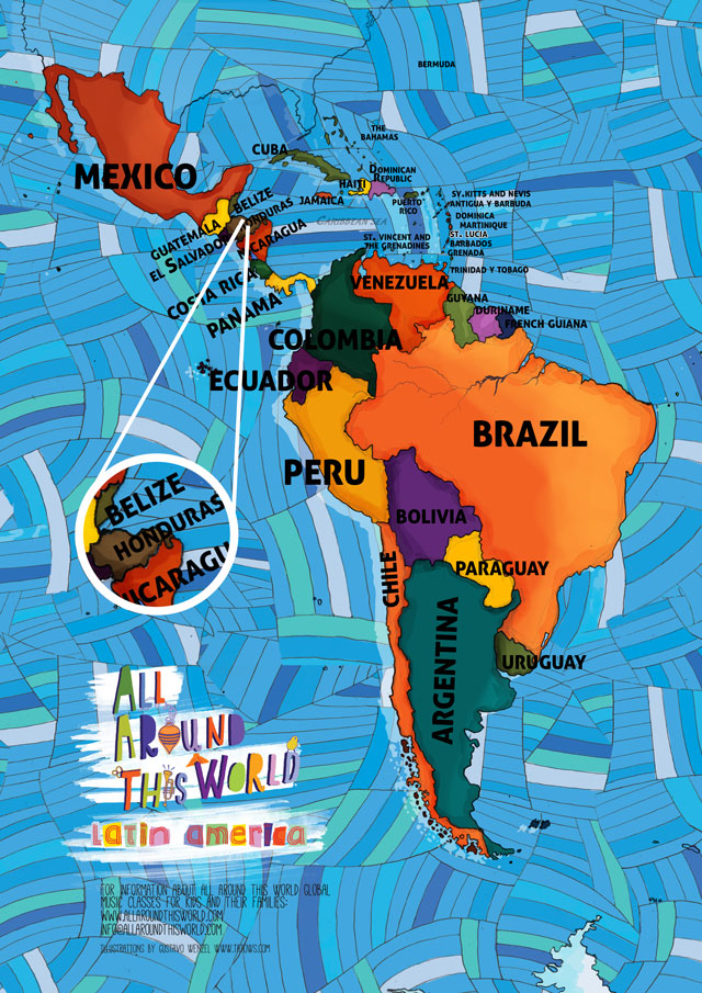 All Around This World map of Latin America featuring Honduras for kids