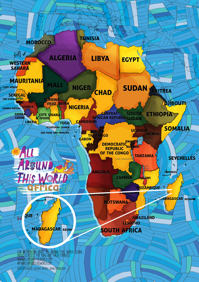All Around This World Map of Africa featuring Madagascar for kids