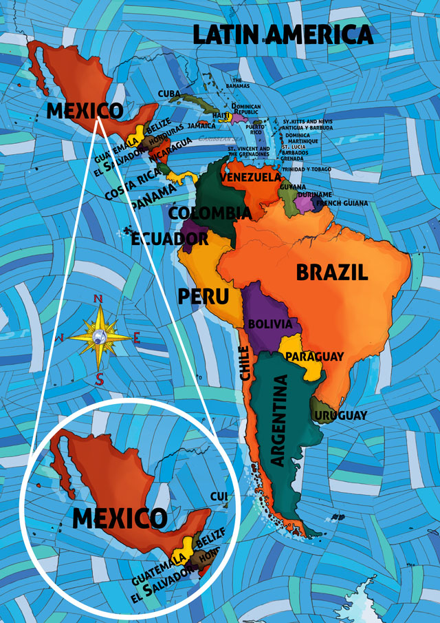 All Around This World map of Latin America featuring Mexico for kids