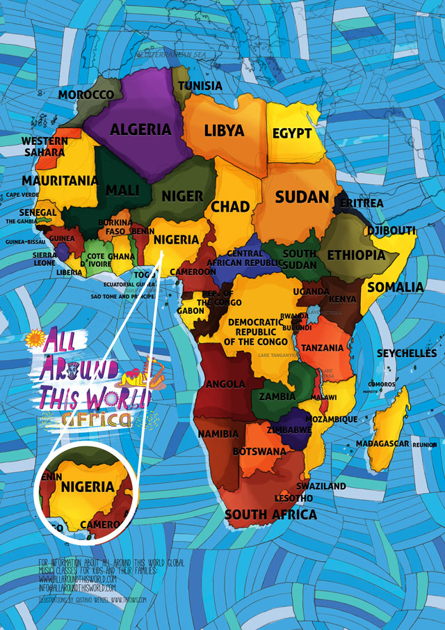 All Around This World Map of Africa Featuring Nigeria for kids
