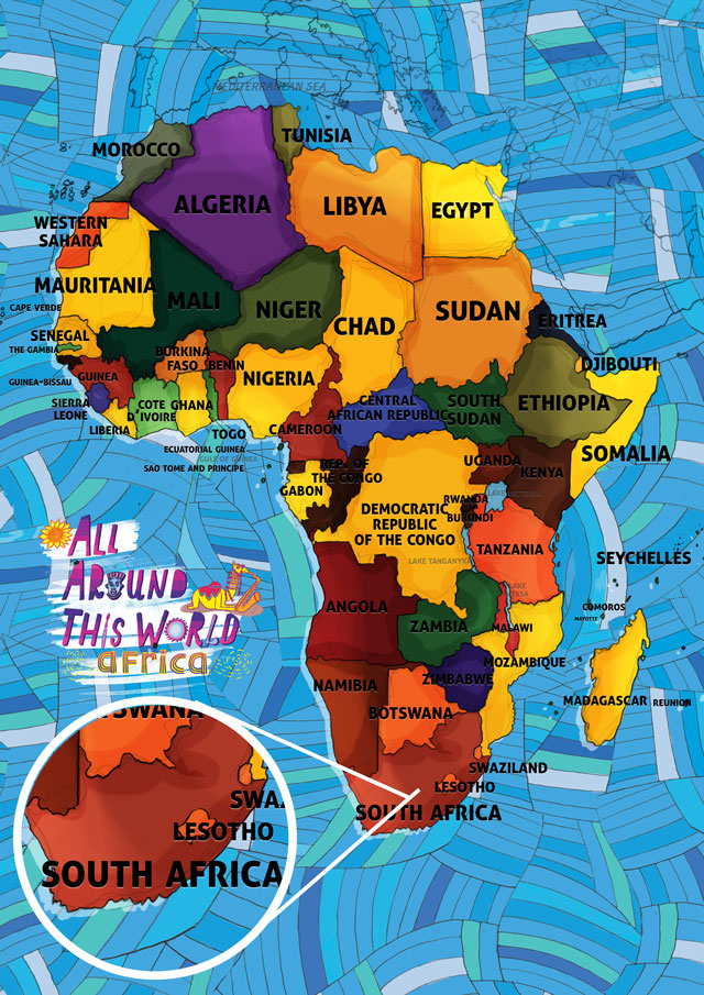 All Around This World Map of Africa featuring South Africa for kids