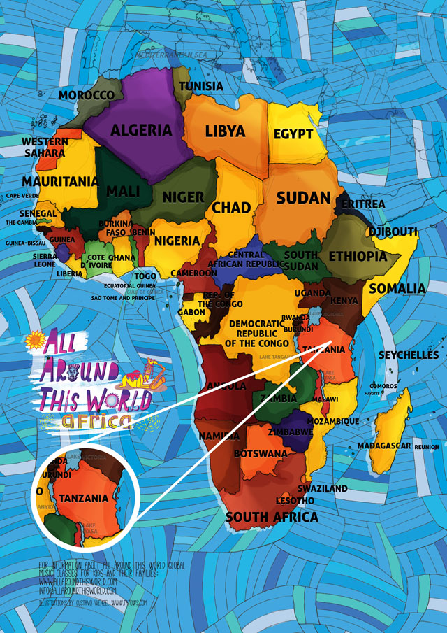 All Around This World map of Africa featuring Tanzania for kids