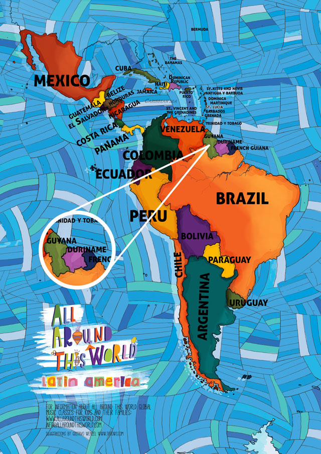 All Around This World map of South America featuring the Guianas for kids
