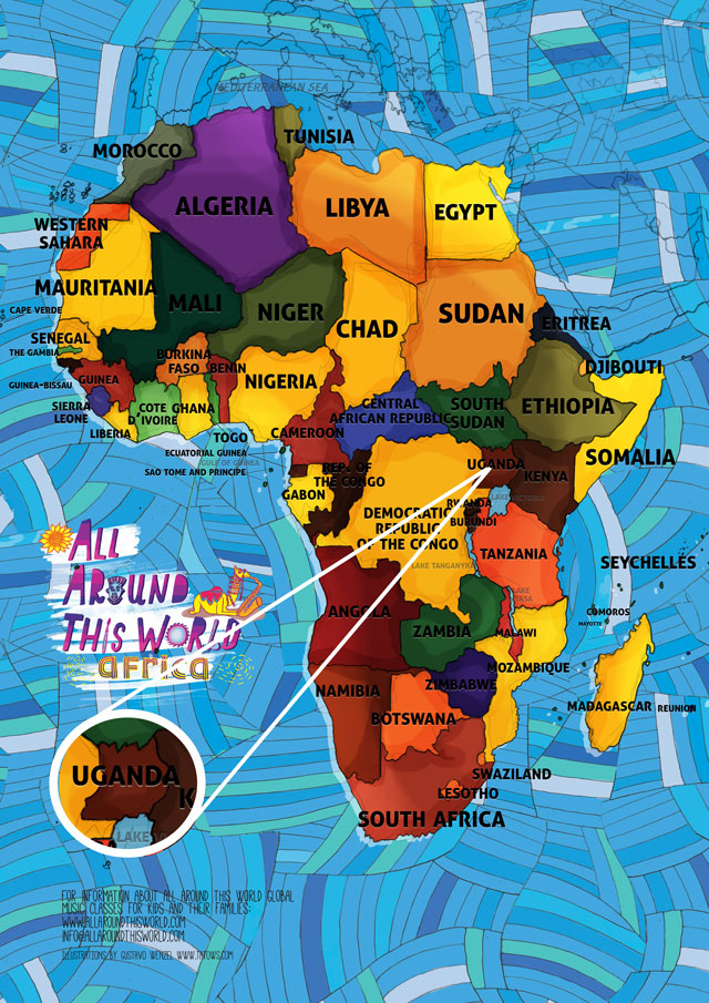 All Around This World Map Featuring Uganda for kids