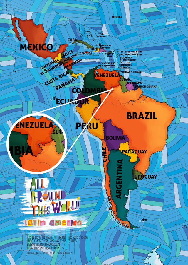 All Around This World map of South America featuring Venezuela for kids