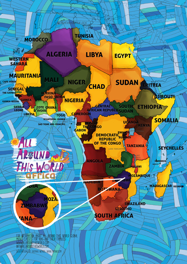All Around This World Map of Africa featuring Zimbabwe for kids