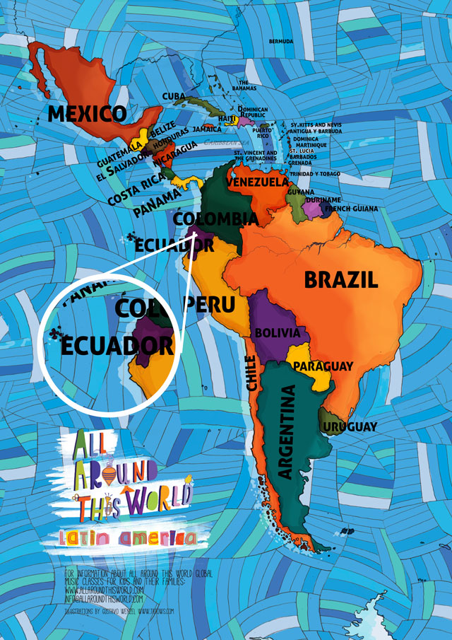 All Around This World map of South America featuring Ecuador for kids