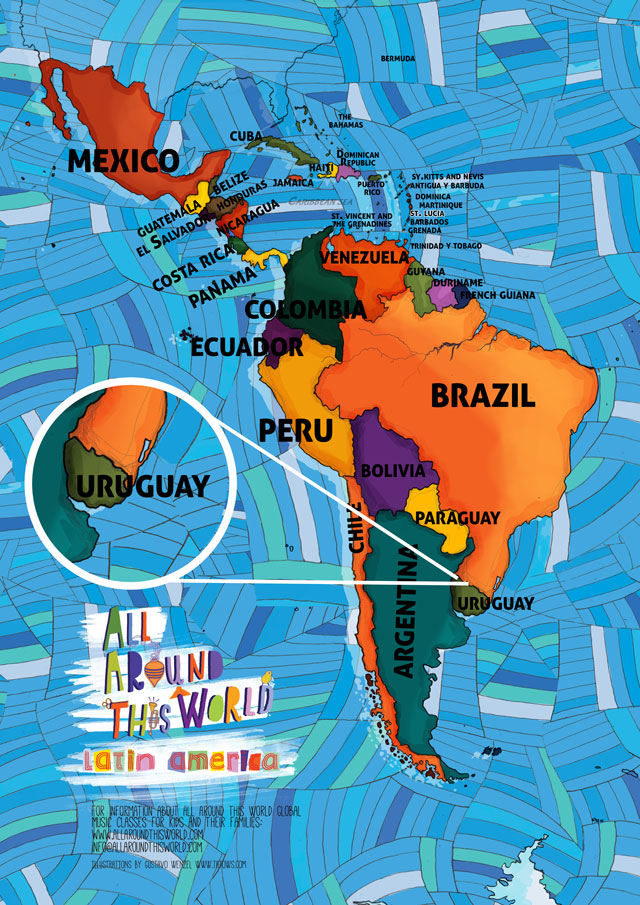 All Around This World map of South America featuring Uruguay for kids