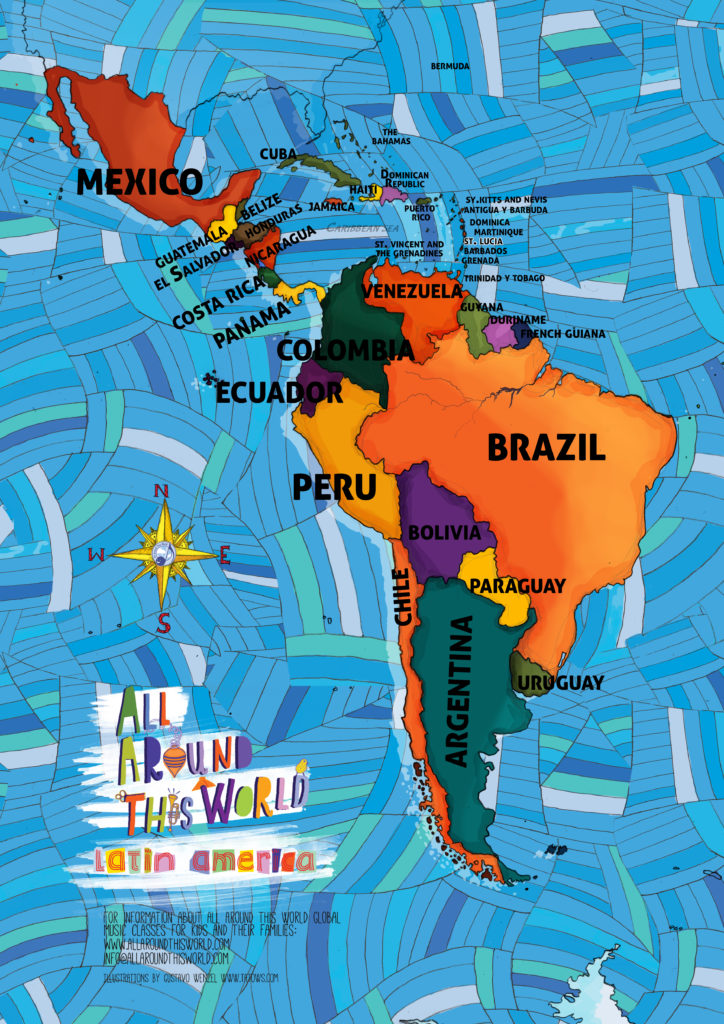 "All Around This World's ""Everythere Map of Latin America -- One of our world maps for Kidsi"