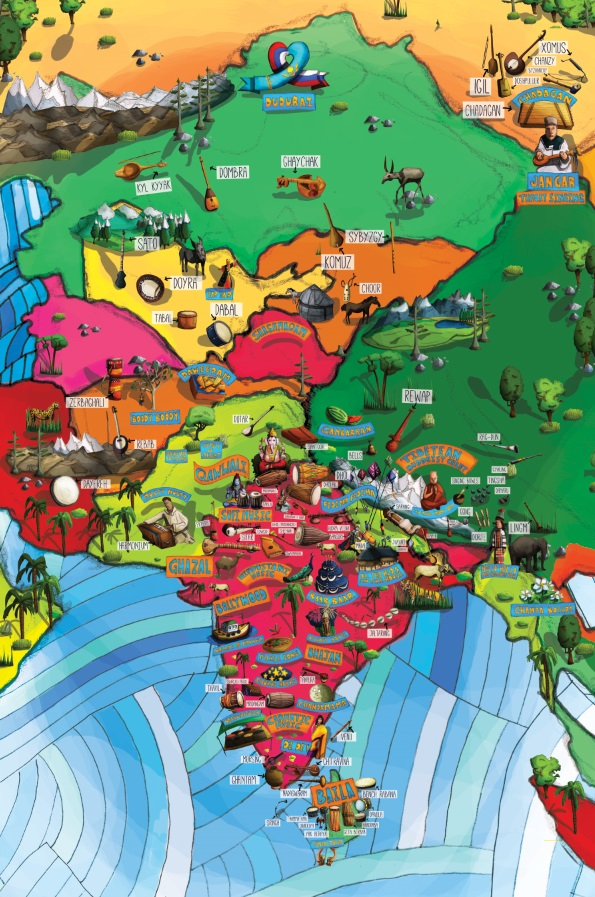 All Around This World South and Central Asia Musical Map