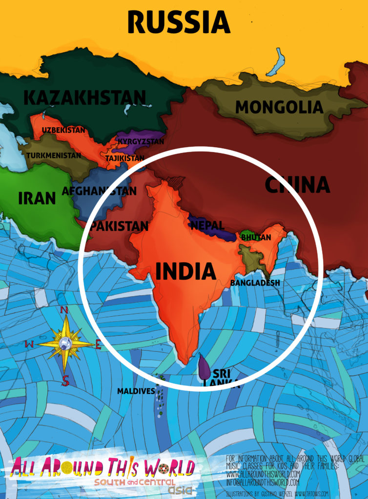 All Around This World South Asia Map featuring India