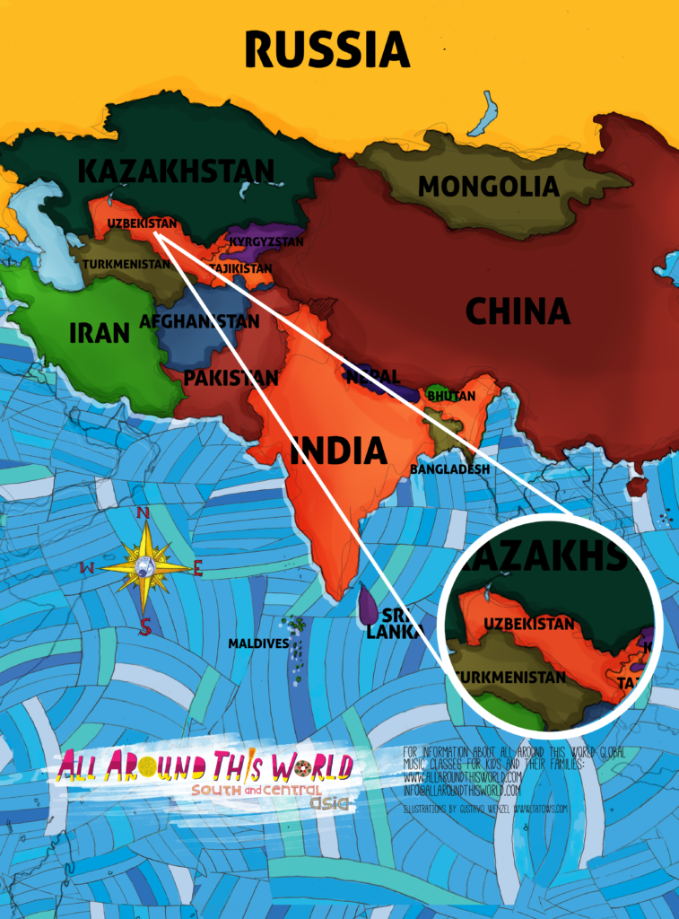 All Around This World South and Central Asia map featuring Uzbekistan