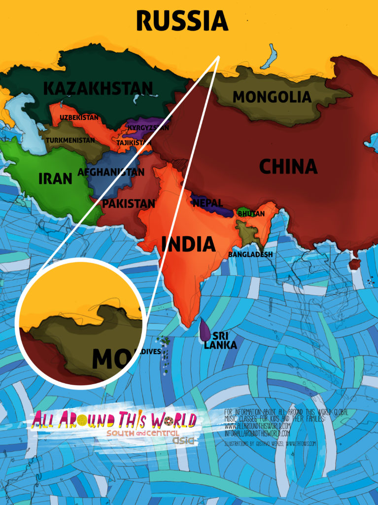 All Around This World South and Central Asia map featuring Tuva