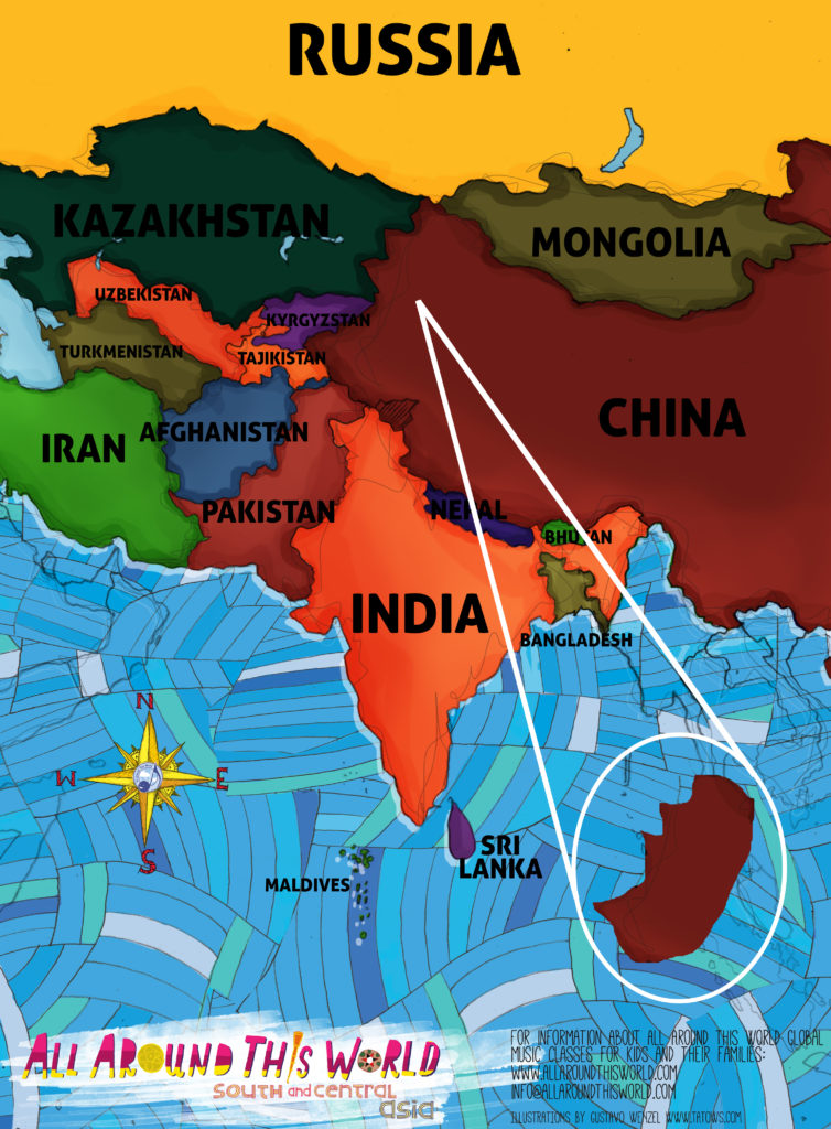 All Around This World map of South and Central Asia featuring Uighur region