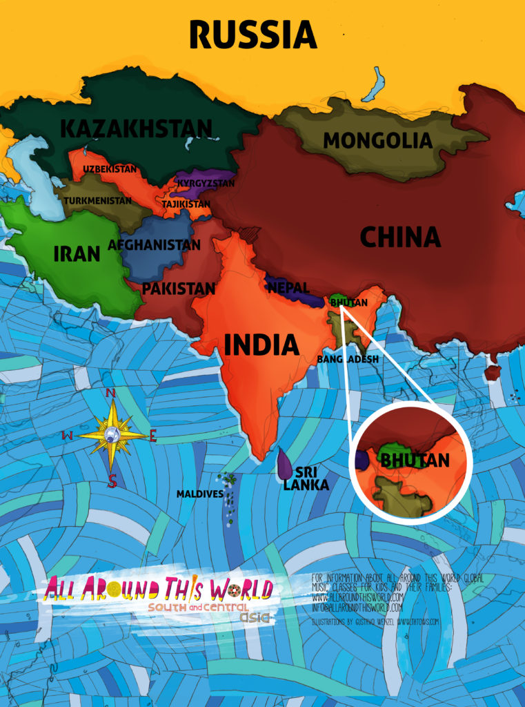 Bravo for bhutan online education for kids all around this world map of south and central asia featuring bhutan gumiabroncs Choice Image
