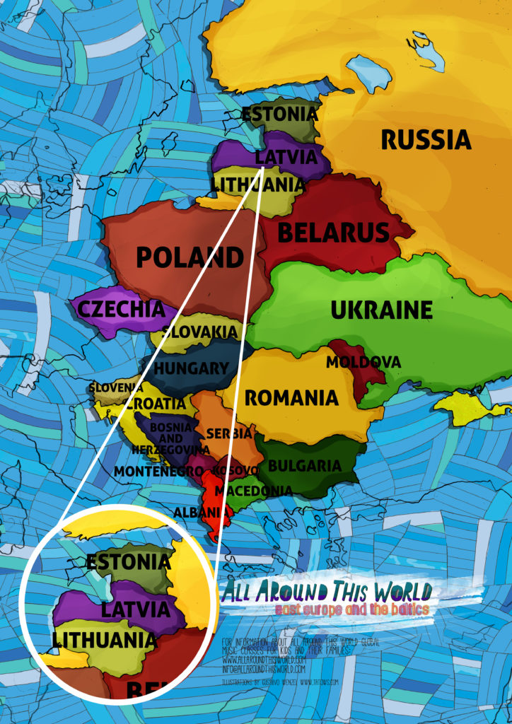 All Around This World map of Eastern Europe featuring the Baltic States.
