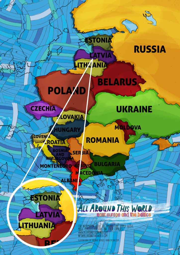 All Around This World map of Eastern Europe featuring the Baltics