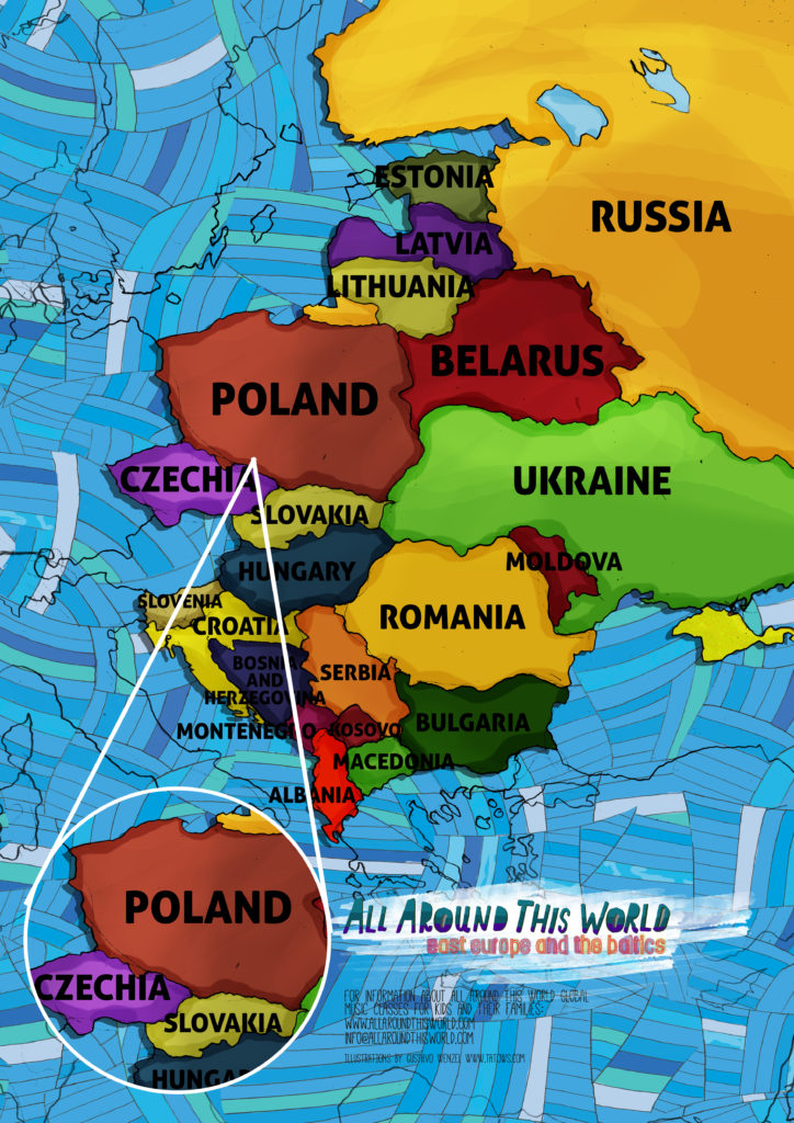 All Around This World map of Eastern Europe featuring Czechia and Poland