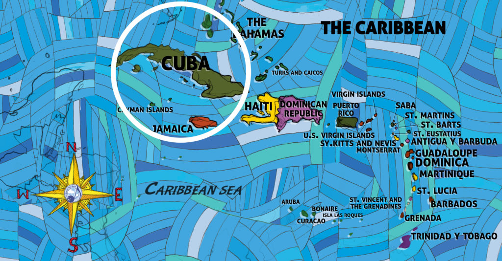 All Around This World map of the Caribbean featuring Cuba