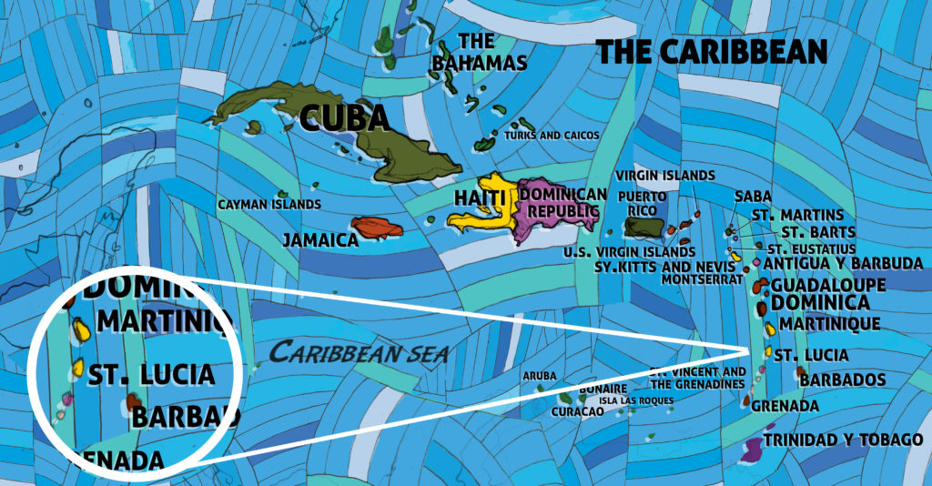 All Around This World map of the Caribbean featuring St. Lucia