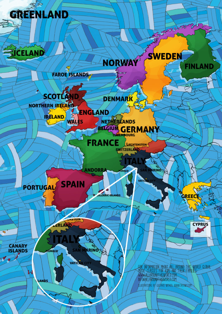 All Around This World map of Western Europe featuring Italy