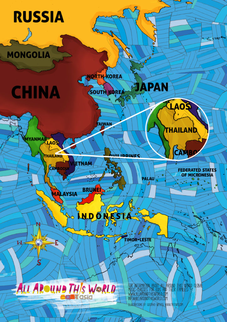 All Around This World map of Southeast Asia featuring Thailand