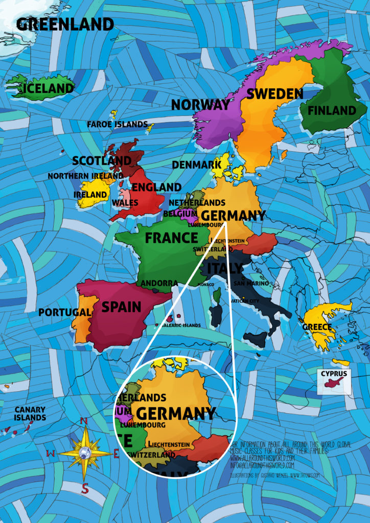 All Around This World map of Western Europe featuring Germany