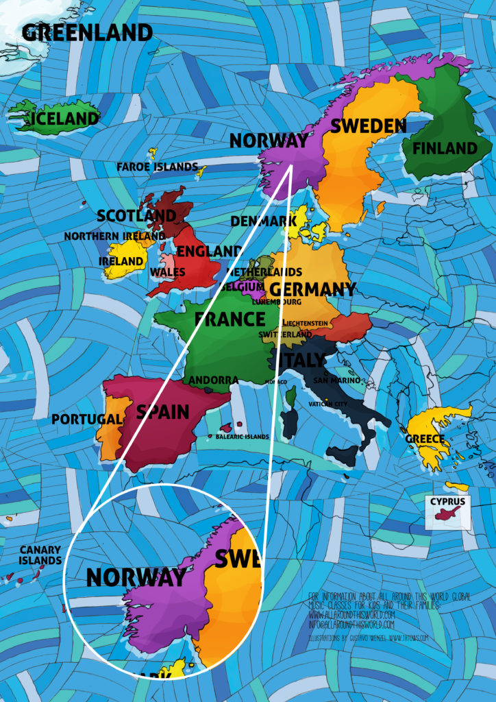 All Around This World map of Western Europe featuring Norway